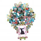 Dazzling Multicolor Flower Brooch Pin Pendant W/ Oblong Rhinestone Crystals 6411
