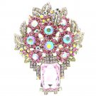 Delicate Pink Flower Brooch Pin With Oblong Rhinestone Crystals Pendant 6411
