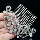 Zircon Flower Hair Comb Headband Clear Rhinestone Crystals Bridal Wedding 2253R