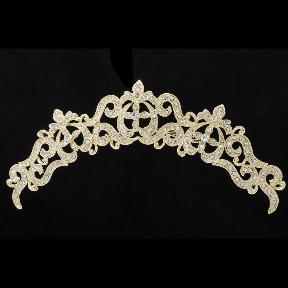 Gold Rhinestone Crystal Women's Hair Jewelry Flower Hair Comb Wedding  XBY077