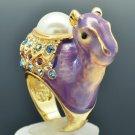 Purple Enamel Faux Pearl Dromedary Camel Cocktail Ring Sz 7# Swarovski SRA2126