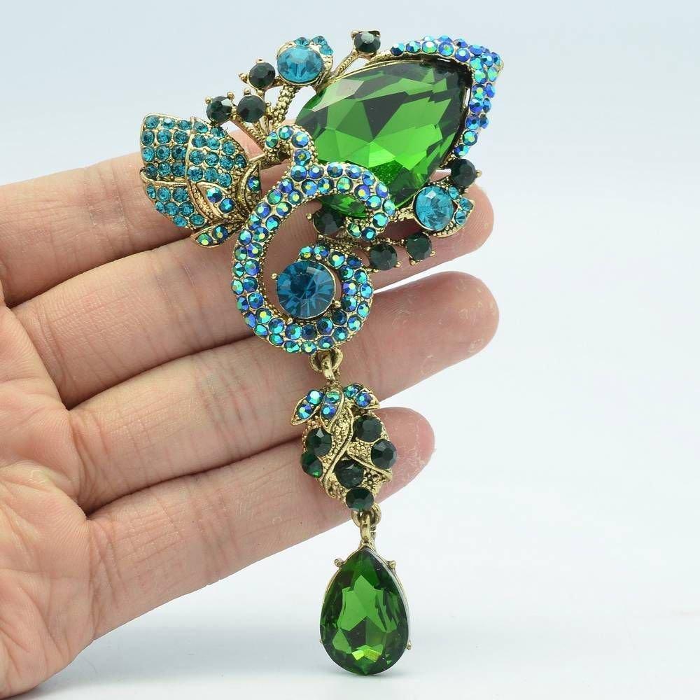 Drop Bud Flower Costume Brooch Broach Pins  7 Colors Rhinestone Crystals 6178