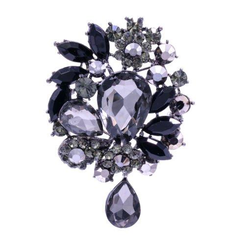 Women Jewelry  Flower Pendant Brooch Pin Tear Drop Rhinestone Crystal 3857