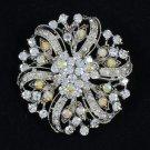 Wedding Bridal Floral Round Flower Brooch Pin Clear A/B Rhinetsone Crystal 3804