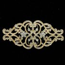 Gold Tone Heart Flower Cloth Brooch Pin Rhinestone Crystal Women Jewelry XBY068