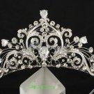 Excellent Flower Tiara Crown Zircon Swarovski Crystals Bridal Wedding JHA7858