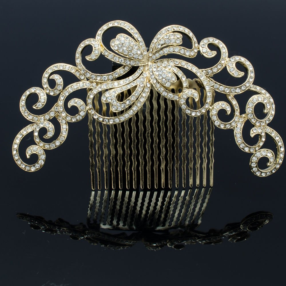 Gold Tone Cute Flower Comb Headband W/ Rhinestone Crystals Party Jewelry XBY074