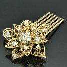 Gold Tone Rhinestone Crystal Flower Hair Comb Headband Women Prom Jewelry XBY035