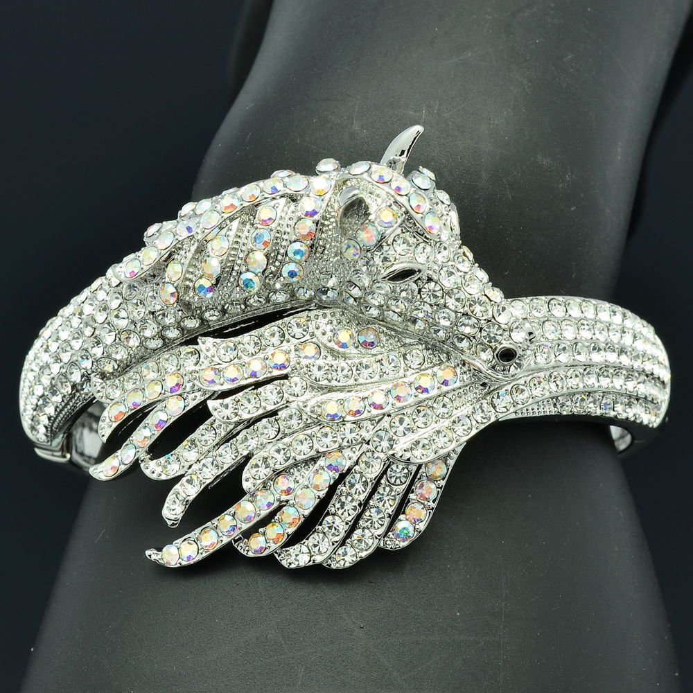 Exquisite Clear Rhinestone Crystals Animal Tail Horse Bracelet Bangle Cuff 20810