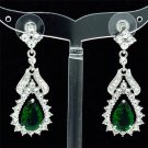 Glitzy Green Zircon Flower Pierced Earring Dangle Clear Rhinestone Crystal 21510