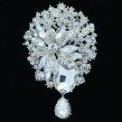 """Rhinestone Crystal Wedding Bridal Flower Dangle Brooch Hat Pin Jewelry 3.9"""" 6022"""