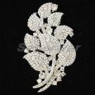 """Dossy Clear Flower Brooch Broach Pin Rhinestone Crystal 3.3"""" Bridal Wedding 4235"""