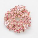 Pretty Prom Austrian Crystals Round Flower Brooch Broach Pin Women Teardrop 6533