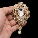 Gold Tone Clear Flower Brooch Pin Pendant Rhinestone Crystals Women Jewelry 6532