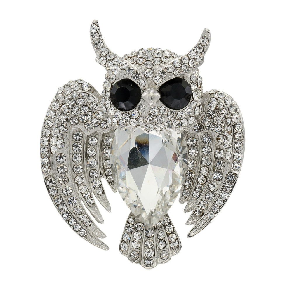 Chic Multicolor Bird Owl Brooch Broach Pin Animal Rhinestone Crystals Women 5758