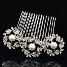 Elegant Round Flower Imitated Pearls Hair Comb Bridal Rhinestone Crystals 1452R