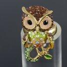 Swarovski Crystals Animal Bird Brown Owl Cocktail Ring Women's Jewelry SR1894A-1