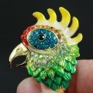 Enamel Animal Cockatoo Parrot Cocktail Ring 6# Swarovski Crystals SZ 6# SR1584