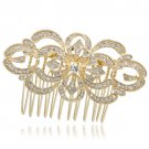 Gold Tone Flower Hair Comb for Bridal Hair Accessories Rhinestone Crystal XBY123
