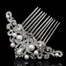 Cute Imitated Pearls Flower Hair Comb Wedding Jewelry Rhinestone Crystals 1457R1