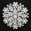"Austrian Crystal Cute Clear Heart Round Flower Brooch Pin 2.2""Women Wedding 4786"