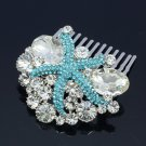 Attractive Sea Blue Starfish Hair Comb Clear Rhinestone Crystals Jewelry 4995