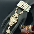 Rhinestone Crystals Stretch Pearl The Great Gatsby Bracelet Chain Ring 9565