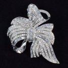 Elegant Flower Bowknot Brooch Broach Pin Rhinestone Crystals Bridal Wedding 4996