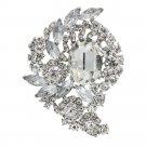 Women Flower Pendant Brooch Pin W/ Rhinestone Crystals Jewelry 5 Color 4883