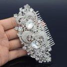 Rhinestone Crystal Bridal Wedding Clear Flower Drop Hair Comb Jewelry FA2827