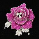 "Chic Fuchsia Rose Flower Brooch Pin Rhinestone Crystal 2.1""Women Jewelry FB1077"