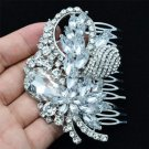 Bridal Leaf Flower Hair Comb Accessories Clear Rhinestone Crystals Wedding 4622