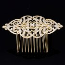 Europe Imperial Style Flower Hair Comb Gold Tone Clear Rhinestone Crystal XBY104