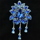 "Blue Rhinestone Crystals Drop Leaf Flower Brooch Broach Pin 4.5"" 3971"