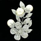 Charm Flower Leaf 3 Round Pearls Brooch Pin Women Clear Rhinestone Crystals 6192