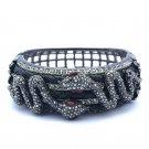 Swarovski Crystals Black Leather 2 Snakes Bracelet Cuff  Bangle SKC1776