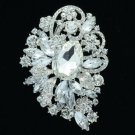"""Rhinestone Crystals Flower Brooch Broach Pin 3.5"""" For Wedding Jewelry 6075"""