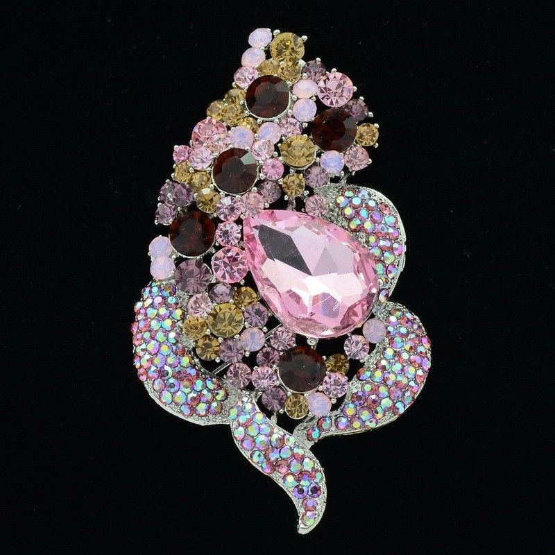"""Exquisite Pink Rhinestone Crystals Floral Flower Brooch Pin For Prom 3.5"""" 6023"""