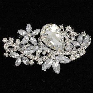 """Clear Rhinestone Crystals Wedding Bridal Flower Brooch Hat Pin 3.1"""" Jewelry 4190"""