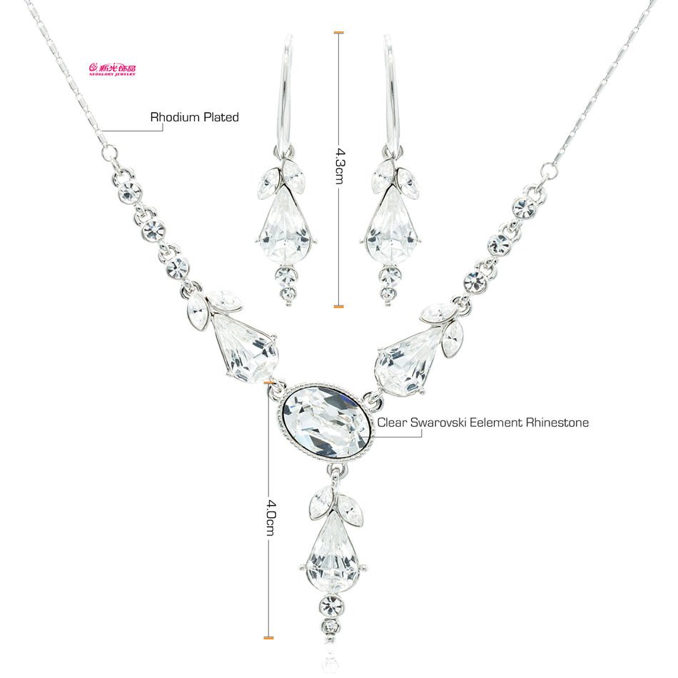 3 Color Pearl Flower Necklace Earring Set Rhinestone Crystal Jewelry Women 3254