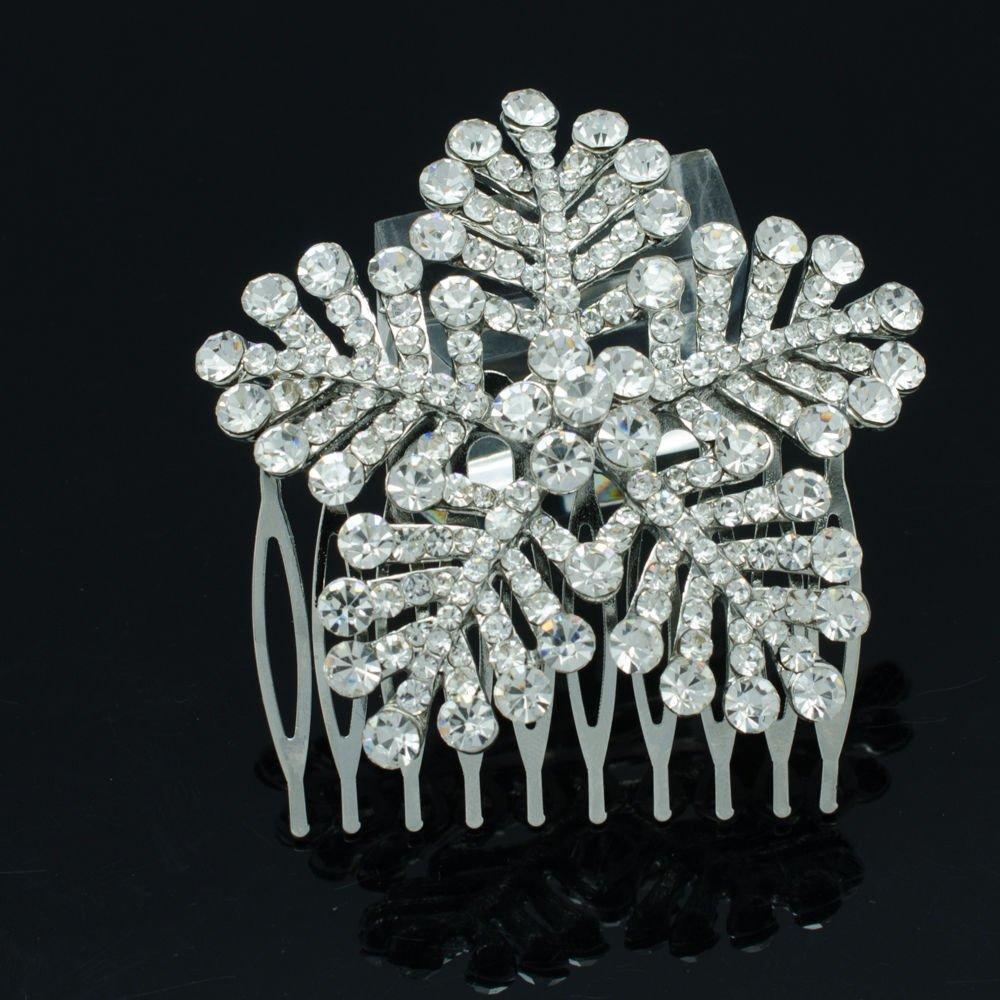 "Stylish Clear Snowflake Hair Comb 2.4"" Rhinestone Crystals Wedding Jewelry 8802"
