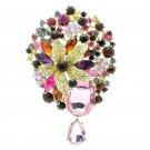 "Gold Tone Rhinestone Crystals Fuchsia Flower Dangle Brooch Pin Jewelry 3.9"" 6022"