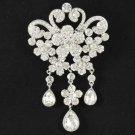 """Clear Rhinestone Crystals Flower Brooch Pin Pendant 4.3"""" for Bridal Wedding 4859"""