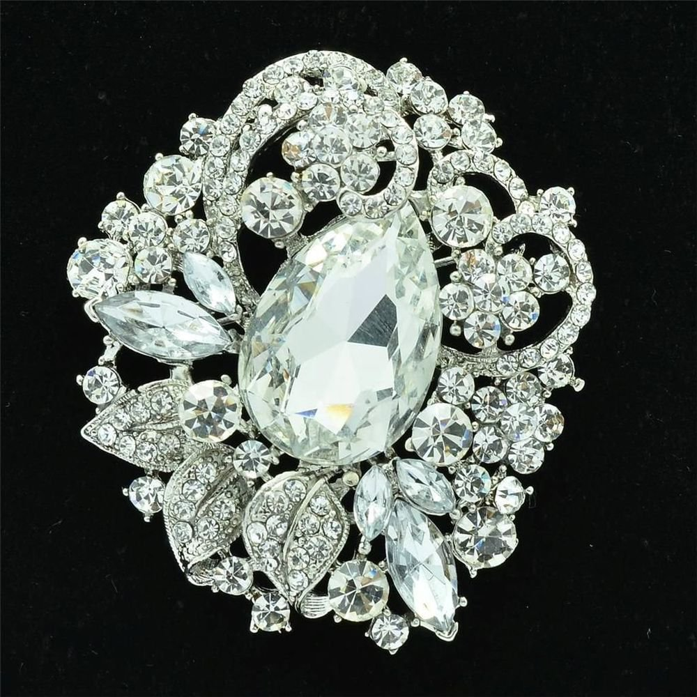 Retro Teardrop Flower Brooch Broach Pins Pendant Rhinestone Crystal 7 Color 6173