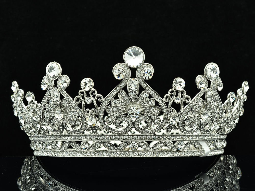 Super Swarovski Crystals Heart Flower Tiara Crown Bridal Wedding Jewelry SHA8645