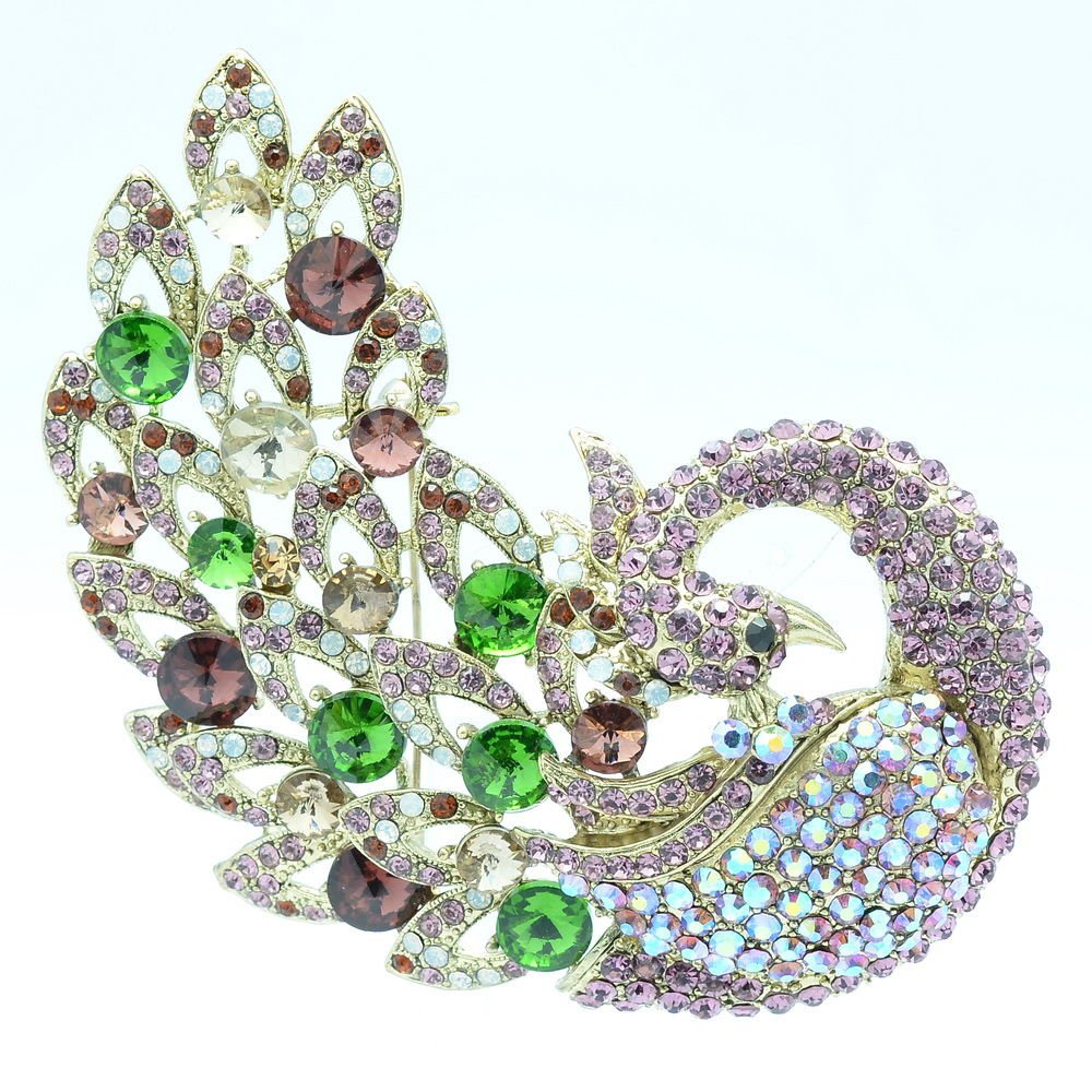"6 Color Animal Purple Feather Peacock Brooch Pin 3.7"" Rhinestone Crystals 6021"