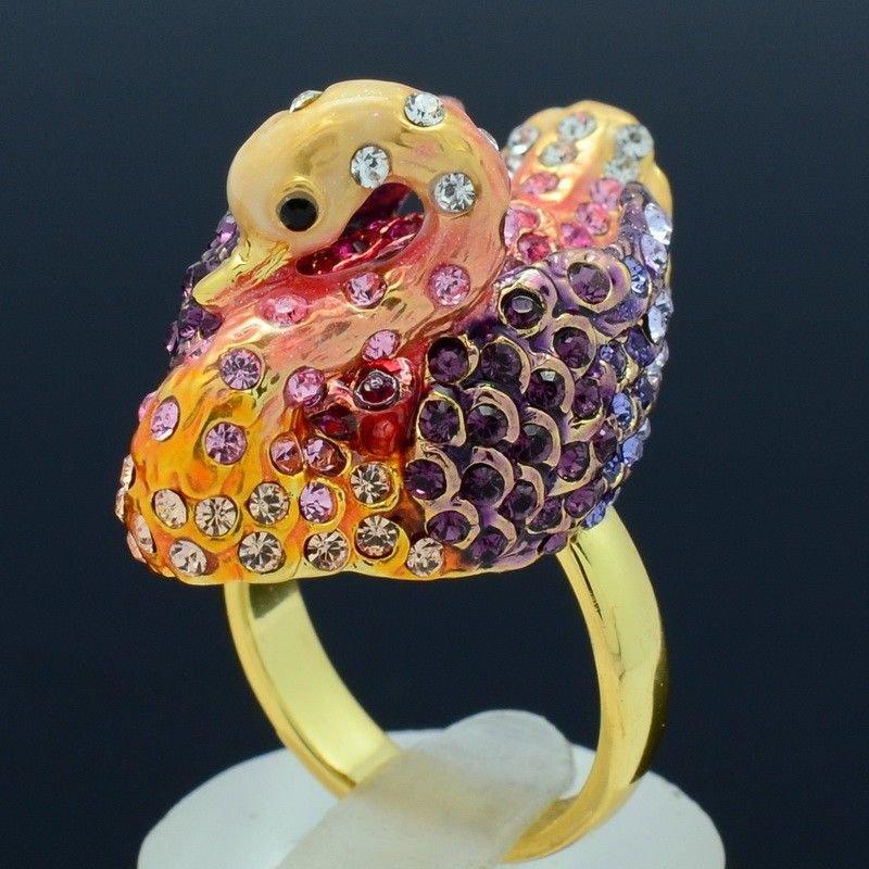 3 Color Swarovski Crystals H-Quality Swan Cocktail Ring Size Adjustable SR1917A