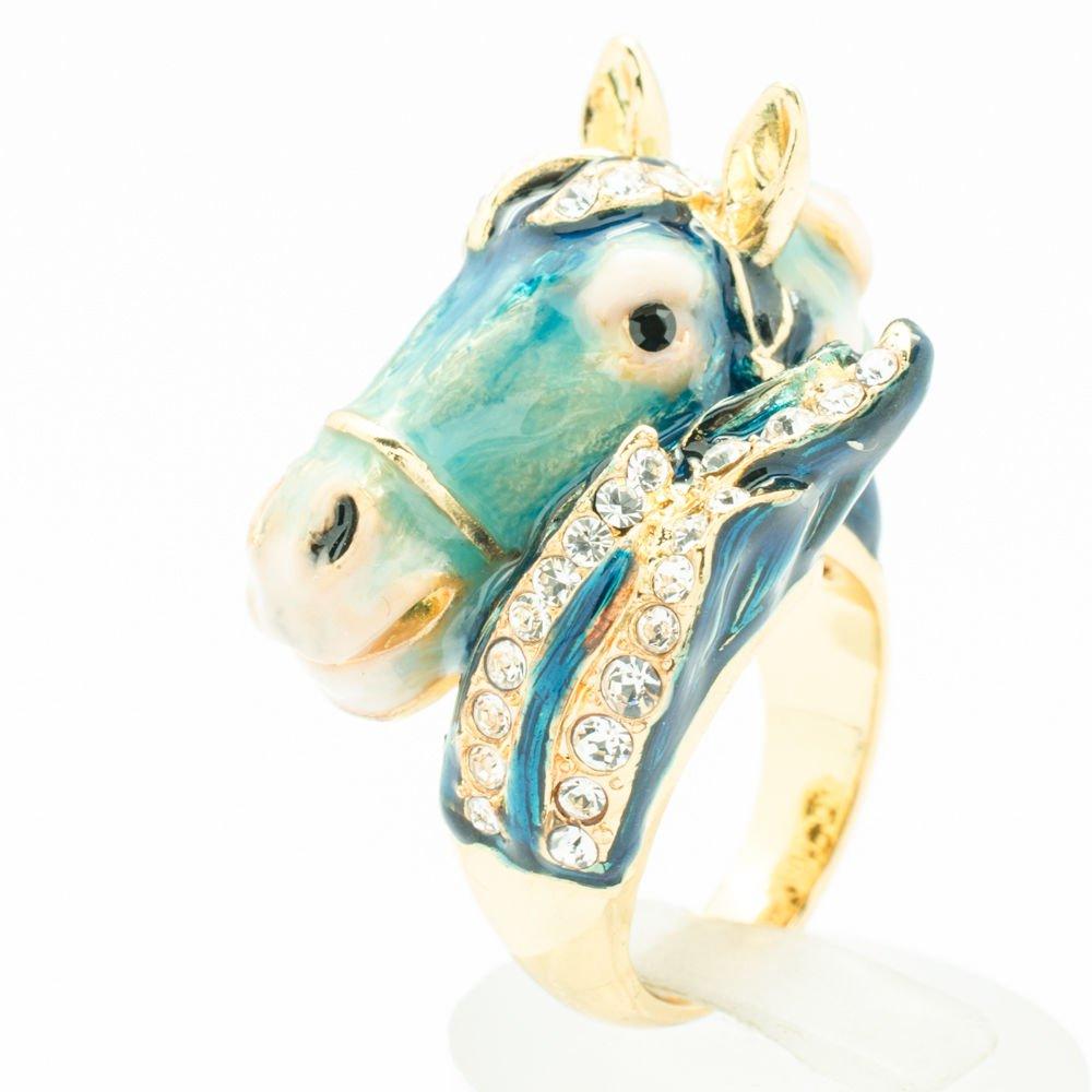 Blue Enamel Horse Steed Cocktail Ring Swarovski Crystals Jewelry Sz 7# SRA2176