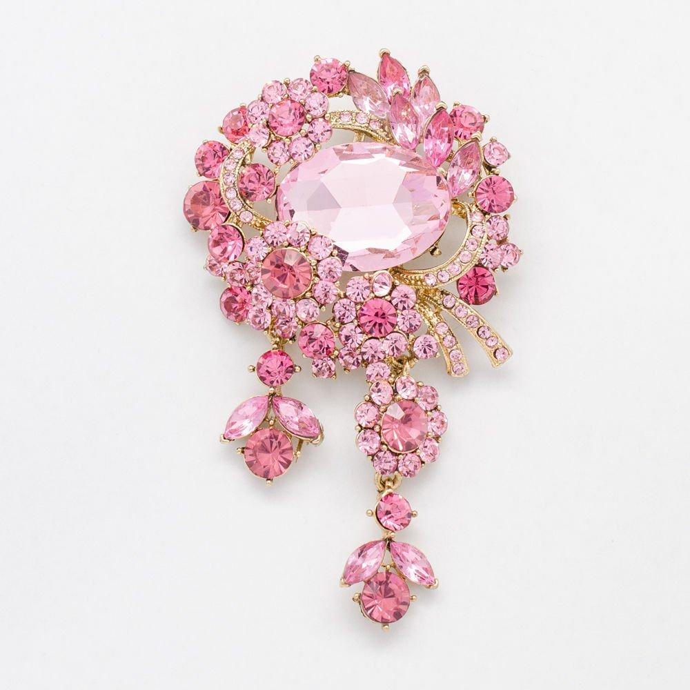 Oval Drop Flower Brooch Broach Pins Rhinestone Crystals Women 7 Color 6537