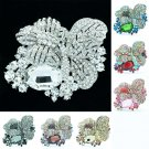 Delicate Flower Butterfly Brooch Broach Pins Rhinestone Crystals 7 Colors 6407